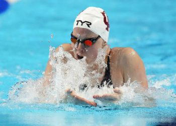 Lilly King participates in the Women's 100 Breaststroke during wave 2 of the U.S. Olympic Swim Trials on Monday, June 14, 2021, in Omaha, Neb. (AP Photo/Charlie Neibergall)