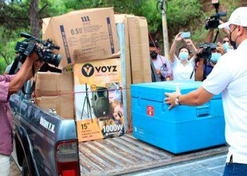 Salud distribuyó ayer 49,000 vacunas anticovid en 27 municipios de Francisco Morazán, para iniciar el Vacunatón.