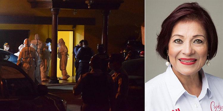 Después del levantamiento, personal forense realizó la autopsia al cuerpo de la exdiputada Carolina Echeverría Haylock (foto inserta) y lo entregaron a familiares a las 6:25 de la mañana de ayer.