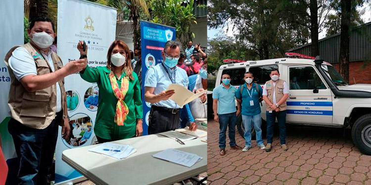 La ministra Alba Consuelo Flores entrega dos ambulancias (foto inserta) a la Región de Salud de El Paraíso.