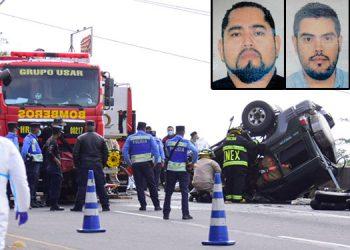 Los empresarios mexicanos Jesús Orozco Martínez y Gerardo Jiménez Pérez y el motorista hondureño Windel Manuel Medina Castro (fotos insertas, en su orden), murieron al instante del brutal percance.