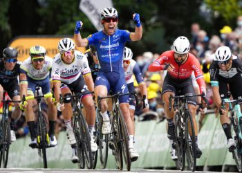 Britain's Mark Cavendish celebrates as he crosses the finish line to win the fourth stage of the Tour de France cycling race over 150.4 kilometers (93.5 miles) with start in Redon and finish in Fougeres, France, Tuesday, June 29, 2021. (AP Photo/Daniel Cole, Pool)