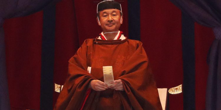 Japan's Emperor Naruhito attends a ceremony to proclaim his enthronement to the world, called Sokuirei-Seiden-no-gi, at the Imperial Palace in Tokyo, Japan, Tuesday, Oct. 22, 2019. (Issei Kato/Pool Photo via AP)