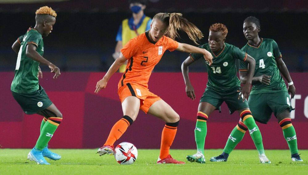 Netherlands' Lynn Wilms (2) controls the ball against Zambia during a women's soccer match at the 2020 Summer Olympics, Wednesday, July 21, 2021, in Rifu, Japan. (AP Photo/Andre Penner)