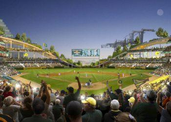 Archivo.- Proyecto del nuevo estadio de los Atléticos de Oakland propuesto en Howard Terminal, Oakland. El martes 20 de julio del 2021, el Consejo de la ciudad aprobó el plan, no está claro si el equipo seguirá negociando. (Courtesy of BIG - Bjarke Ingels Group/Oakland Athletics via AP, File)