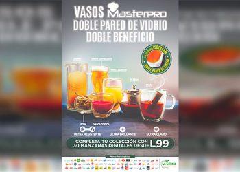 """Prepárate para compartir con la promoción """"Vasos Masterpro, doble pared de vidrio, doble beneficio"""", que te trae Supermercados La Colonia."""