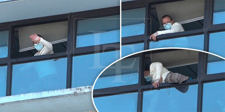 Crisis nerviosa llevó a mujer a quererse tirar de ventanal del IHSS.