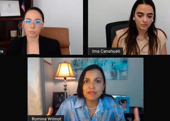 Miembros del consulado de Honduras en Boston y la activista Romina Wilmont, durante la primera jornada de socialización del portal.