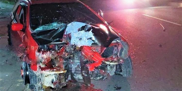 """Así quedó el vehículo en que se transportaba uno de los competidores identificado solo como """"Royolo"""", junto a su copiloto, """"El Chino"""""""