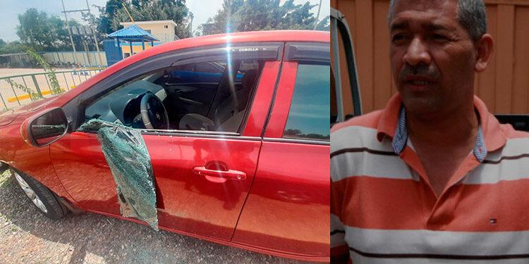 El automóvil de Armando Gómez Torres (foto inserta) quedó perforado a disparos, al ser atacado en un tramo del bulevar Fuerzas Armadas, sector de Tegucigalpa.