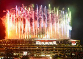 Fireworks illuminate over National Stadium during the closing ceremony of the 2020 Tokyo Olympics, Sunday, Aug. 8, 2021, in Tokyo. (AP Photo/Kiichiro Sato)