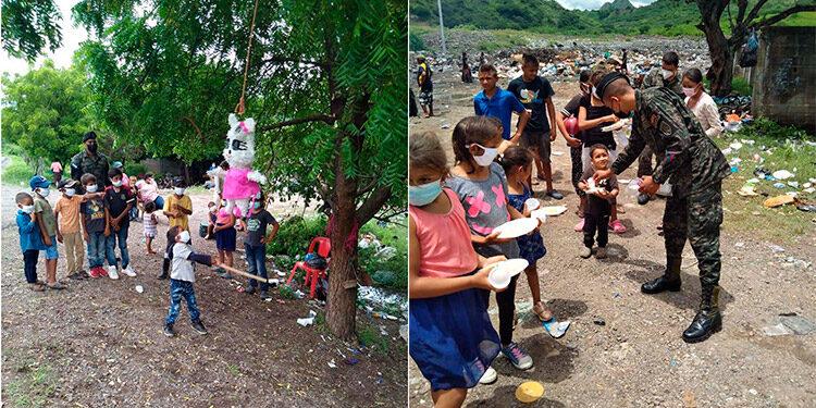 Piñatas, pasteles, mascarillas y gel antibacterial, entre otros obsequios, recibieron los infantes y padres de familia.