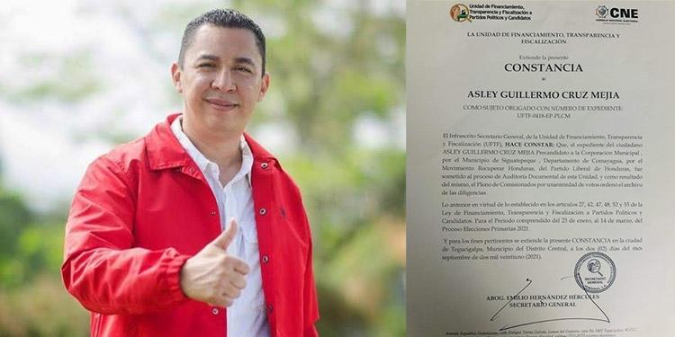 Constancia emitida al candidato liberal a alcalde de Siguatepeque, Asley Cruz (foto inserta), por la Unidad de Financiamiento, Transparencia y Fiscalización a Partidos Políticos y Candidatos (UFTF).