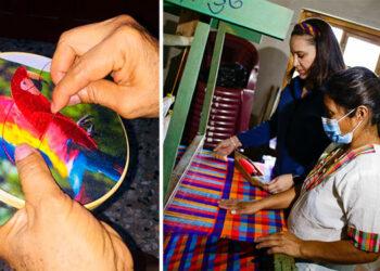 Artesanas lencas bordaron las guacamayas del vestido que lucirá la primera Dama, Ana García de Hernández, en los festejos del Bicentenario de Independencia Patria.