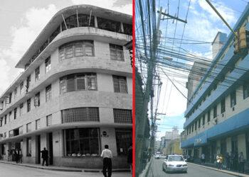 En el tiempo. Edificio que albergó a aquel Hotel Prado. Véase en sus comienzos y después. Hoy aquí otro negocio.