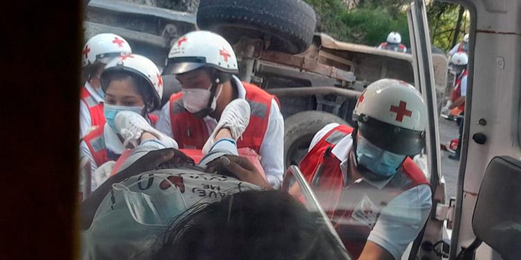 Todos los accidentados fueron auxiliados y trasladados al IHSS, informó la Cruz Roja.