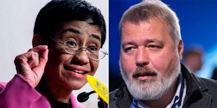 Maria Ressa de Filipinas y Dimitri Muratov.