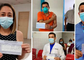 El personal de salud de San Pedro Sula acudió a aplicarse su tercera dosis de refuerzo contra el COVID-19.